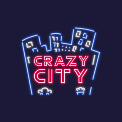 Neon Logo Maker Featuring Illustrated City Buildings 3633o