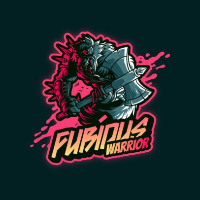 Logo Creator for a Gaming Squad with a Warrior Wolf 3636a