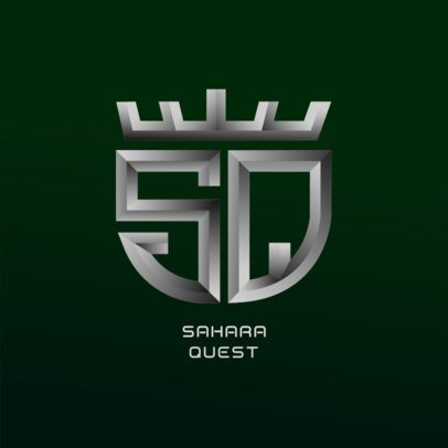 Metallic Monogram Logo Maker with a Shield Shape 3622g-3629