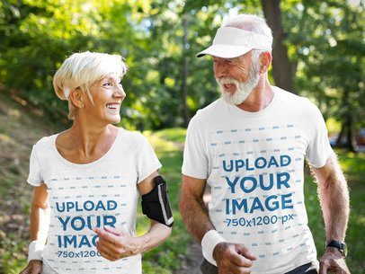 T-Shirt Mockup of a Happy Senior Couple Running Outdoors 41321-r-el2