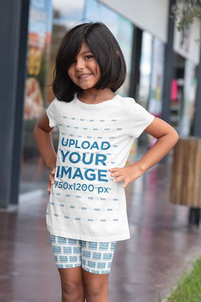 T-Shirt Mockup of a Little Girl Wearing Bike Shorts 42370