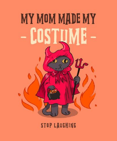 T-Shirt Design Maker with a Devilish Cat Cartoon 2896c