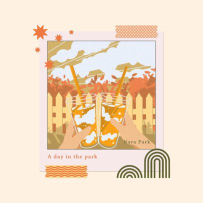 Album Cover Design Template Featuring Illustrations with Polaroid-Inspired Frames 3644