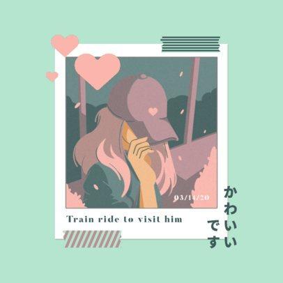 Illustrated Album Cover Maker for a Romantic J-Pop Singer 3644a
