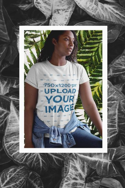 Mockup of a Woman in a T-Shirt Featuring a Frame with Plants Graphics 42559