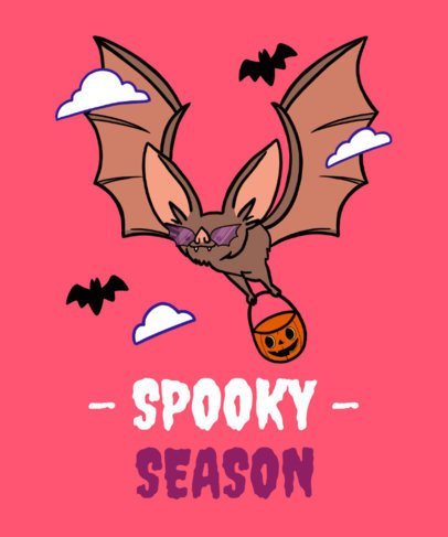 T-Shirt Design Maker for Halloween with a Bat Graphic 2898f