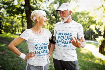 T-Shirt Mockup Featuring a Fitness Senior Couple in the Forest 41015-r-el2