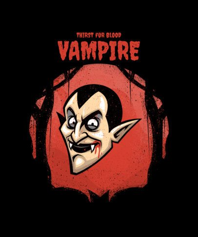 T-Shirt Design Template for Halloween Featuring a Vampire Clipart 2858d-el1