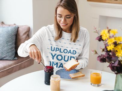 Heather Sweatshirt Mockup Featuring a Woman Having Breakfast 40249-r-el2