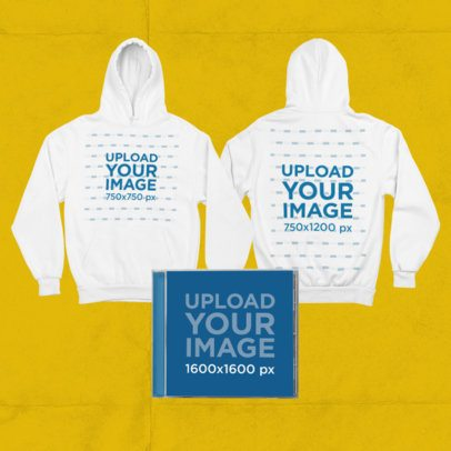 Merch Bundle Mockup Featuring Pullover Hoodies and a CD Jewel Case 43433-r-el2