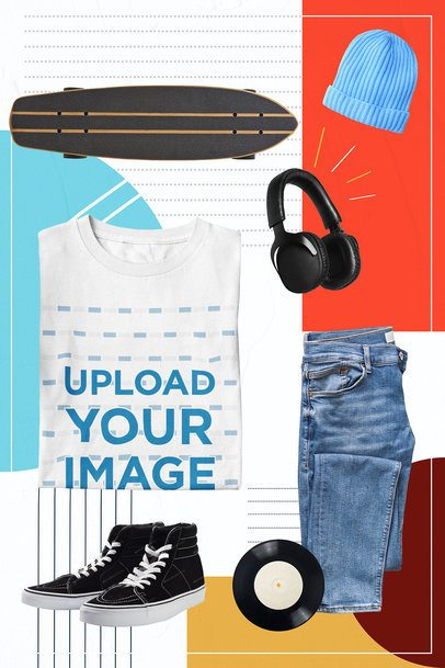 Collage Mockup Featuring a Customizable T-Shirt 42438-r-el2