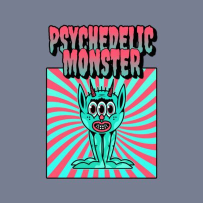 70's Music Logo Maker with a Psychedelic Monster Illustration 3655c