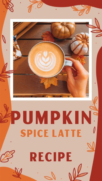 Instagram Story Design Generator for a Pumpkin Spice Latte Recipe 2845e
