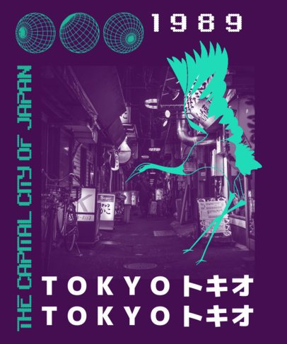 T-Shirt Design Maker with an Anti-Design Style and a Picture of Tokyo 2939c