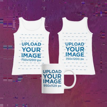 Merch Bundle Mockup Featuring Two Round-Neck Tank Tops and an 11 oz Mug 43399-r-el2
