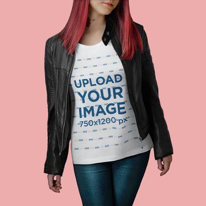 T-Shirt Mockup of a Woman With a Neck Tattoo at a Studio 4984-el1