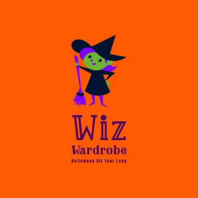 Logo Template for a Kid's Apparel Brand Featuring a Cute Witch Illustration 3660l