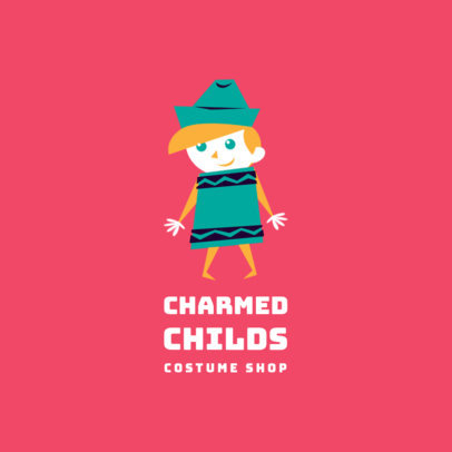 Kid's Clothing Brand Logo Template with a Cute Illustration Style 3660n