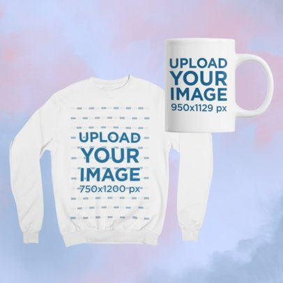 Mockup of a Merch Bundle Including a Sweatshirt and an 11 oz Mug 43415-r-el2