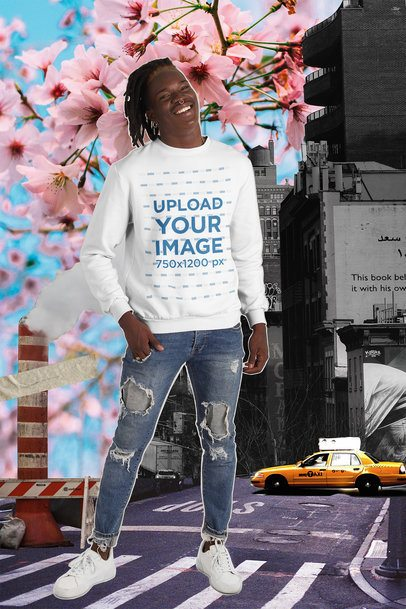 Sweatshirt Mockup Featuring a Man and a Collage Background with Flowers 42548