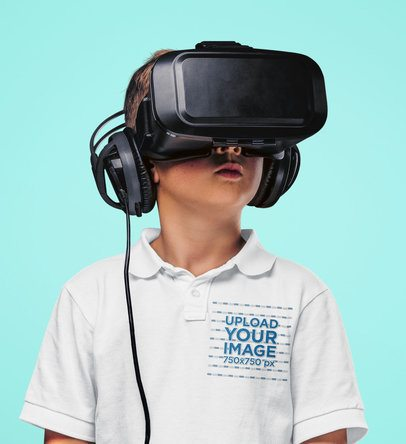Polo Shirt Mockup of a Little Boy Using a VR Headset 42926-r-el2