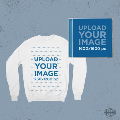 Merch Bundle Mockup Featuring a Sweatshirt and a CD Case 43416-r-el2