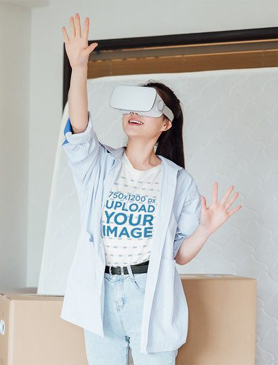 T-Shirt Mockup Featuring a Woman Playing a VR Game 42614-r-el2