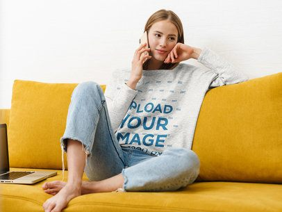Heather Sweatshirt of a Woman Talking on the Phone at Home 39831-r-el2