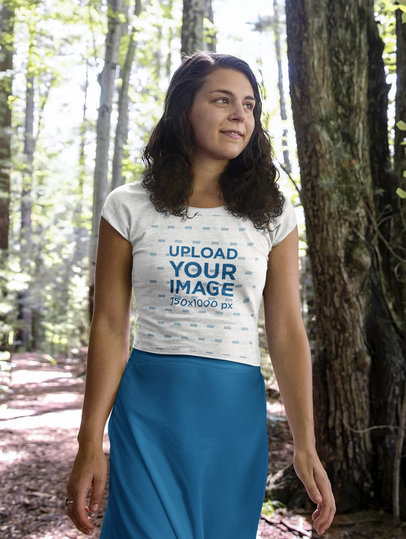 Crop Top Mockup of a Woman Walking Through the Forest 41552-r-el2