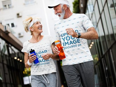 T-Shirt Mockup of a Senior Woman Jogging With Her Husband in the City 41446-r-el2