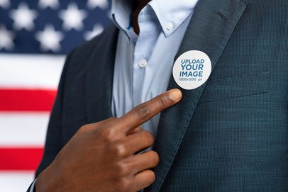 Mockup of a Suited Man Pointing to His Political Campaign Sticker 42253-r-el2