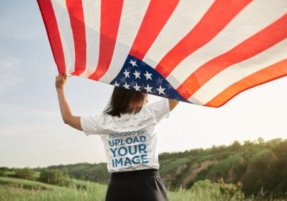 Back-View Tee Mockup of a Woman Holding an American Flag 42252-r-el2
