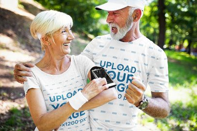 T-Shirt Mockup Featuring a Senior Man and His Wife Celebrating After Jogging 41453-r-el2
