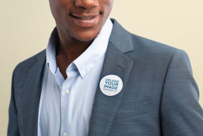 Cropped Face Mockup of a Smiling Man Wearing a Sticker in His Clothes 42261-r-el2