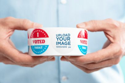 Voting-Themed Mockup of a Man Holding a Roll of Stickers 42262-r-el2