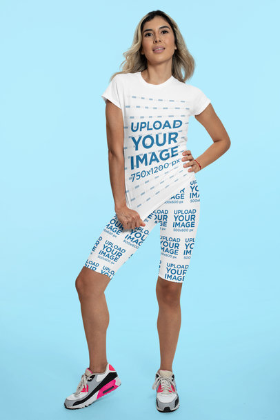 Mockup of a Woman Modeling a Sports Outfit of Bike Shorts and a T-Shirt 42332