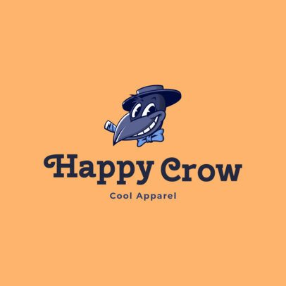 Free Clothing Brand Logo Generator Featuring a Crow Cartoon 3695m