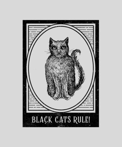 Illustrated T-Shirt Design Template with a Spooky Cat 2923b-el1