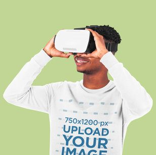 Sweatshirt Mockup of a Young Man Wearing a VR Headset in a Studio 42657-r-el2