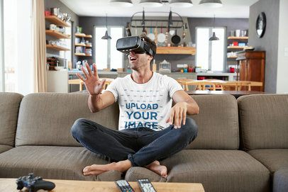 T-Shirt Mockup of a Man Playing a VR Game in the Living Room 42848-r-el2