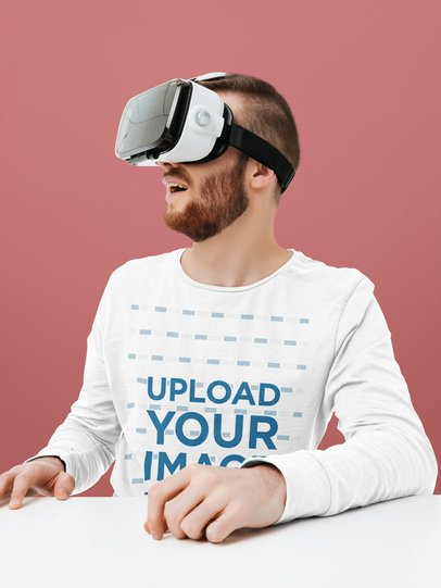 Mockup of a Man Wearing a Long Sleeve Tee and a VR Device 42608-r-el2