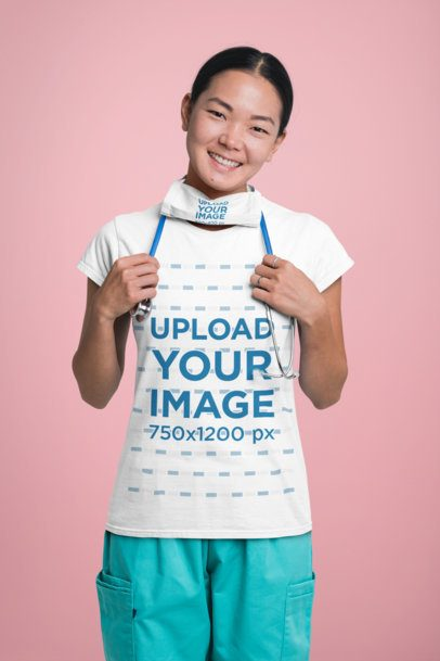 Mockup of a Happy Nurse Wearing a T-Shirt and a Face Mask 27464