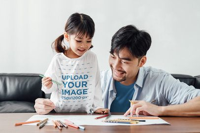 Long-Sleeve Tee Mockup of a Little Girl Drawing with Her Dad 41941-r-el2