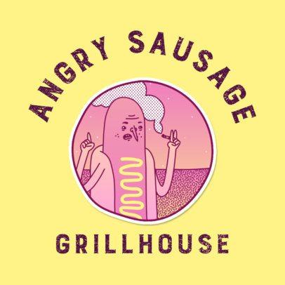Grillhouse Logo Generator Featuring a Hot-Dog Cartoon 3683b