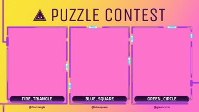 Twitch Overlay Template Featuring a Puzzle Contest with Three Webcam Frames 2970a