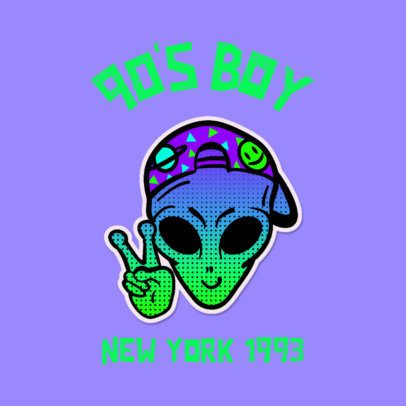 Streetwear Logo Template Featuring a Retro Alien 3683i