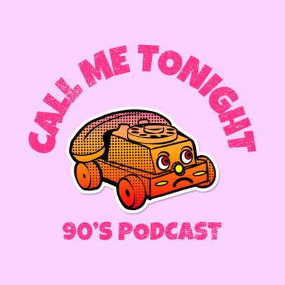 Retro Logo for a Podcast Featuring a Funny Graphic 3683j