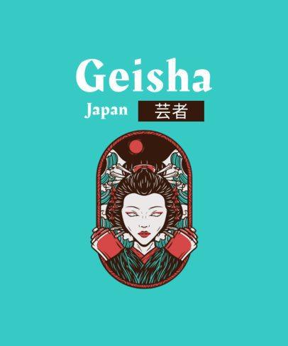 Illustrated T-Shirt Design Maker Featuring a Geisha Graphic 2933b-el1