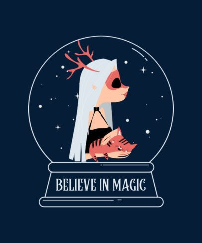 Magical-Looking T-Shirt Design Creator Featuring a Witch 2924c-el1