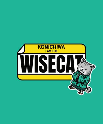 T-Shirt Design Template with a Sticker of a Japanese Cat 2931a-el1